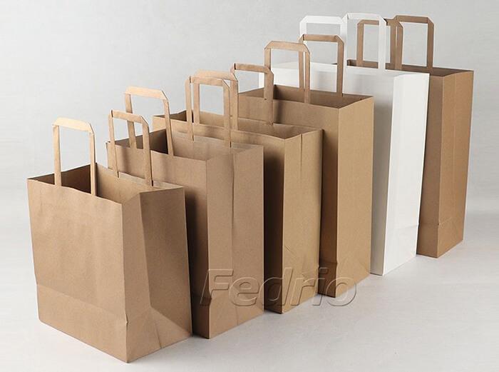 brown flat handle kraft paper pouch 01